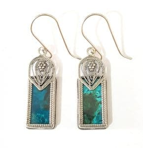 Eilat Stone King Solomon Stone 925 Sterling Silver Earrings