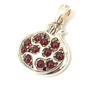 925 Silver Pomegranate Necklace with Red Zircon Stones
