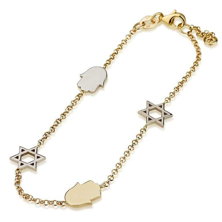 14K Gold Bracelet with  Star of David  and Hamsa Charms