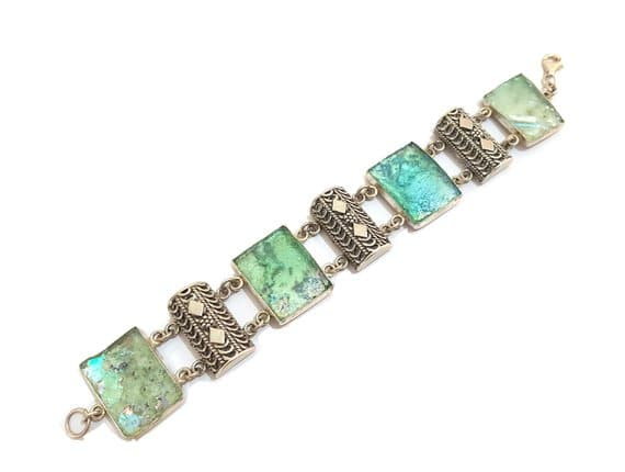 925 Silver Ancient Roman Glass Yemenite Filigree Bracelet