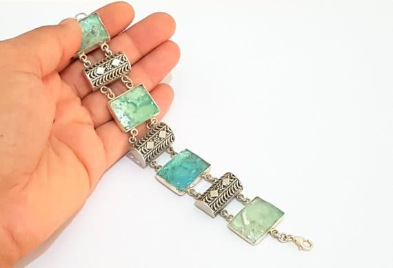 925 Silver Ancient Roman Glass Yemenite Filigree Bracelet