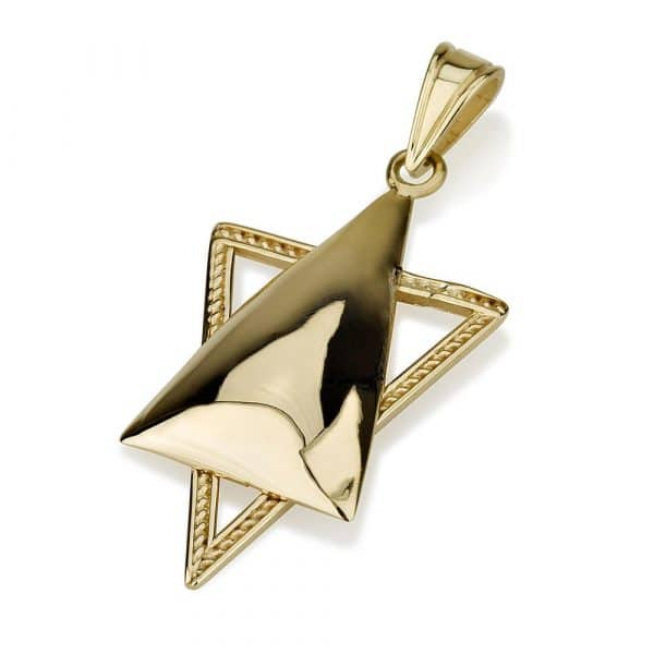 14K Gold Elongated Star of David Pendant