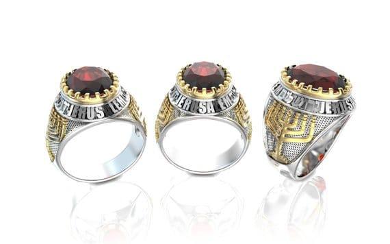14k Gold Menorah Jerusalem Ring