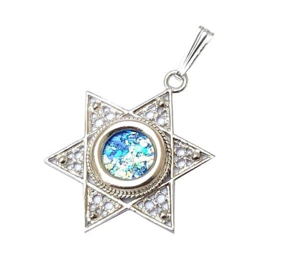 925 Silver Star of David Roman Glass Necklace