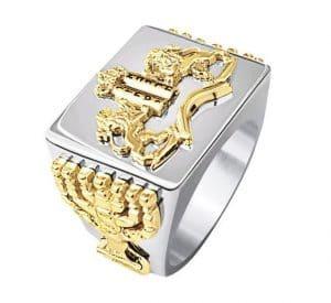 Anillo de Los Diez Mandamientos de Oro 14k , León de Judá, Anillo de Hombres, Anillo de La Menorá