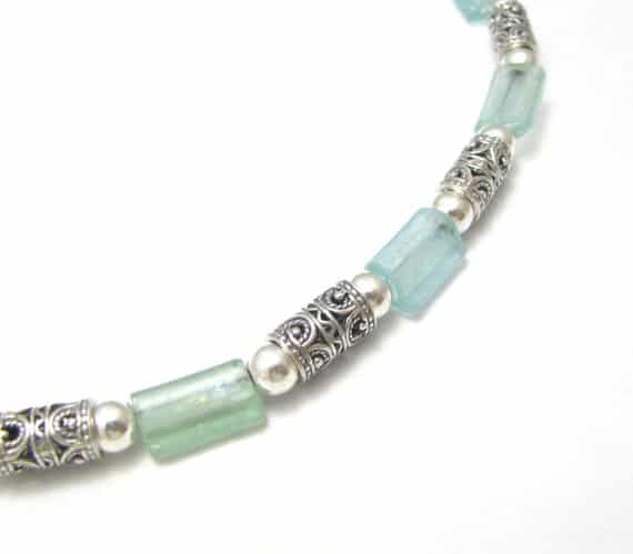 Mixed Green Bluish 925 Silver Filigree Roman Glass Rims Necklace 2