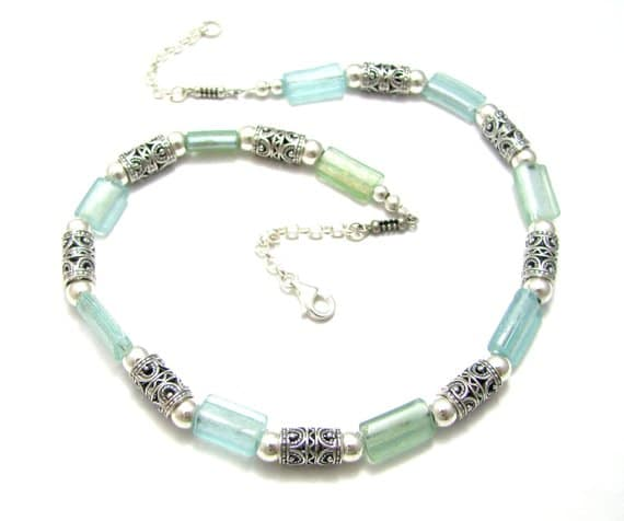 Mixed Green Bluish 925 Silver Filigree Roman Glass Rims Necklace 3