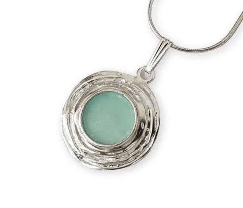 925 Sterling Silver Roman Glass Tear Drop Pendant