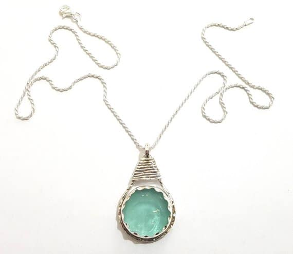 925 Silver  Roman Glass Tear Drop Necklace
