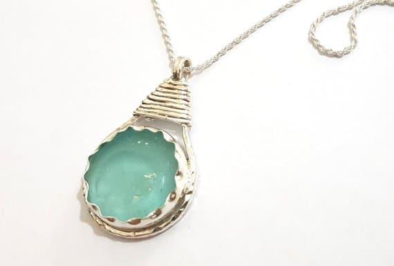 925 Silver  Roman Glass Tear Drop Necklace