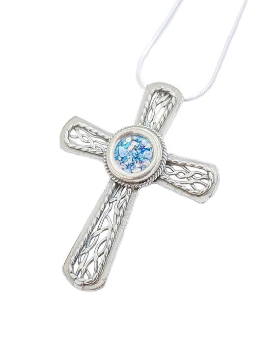925 Silver Roman Glass Cross Necklace