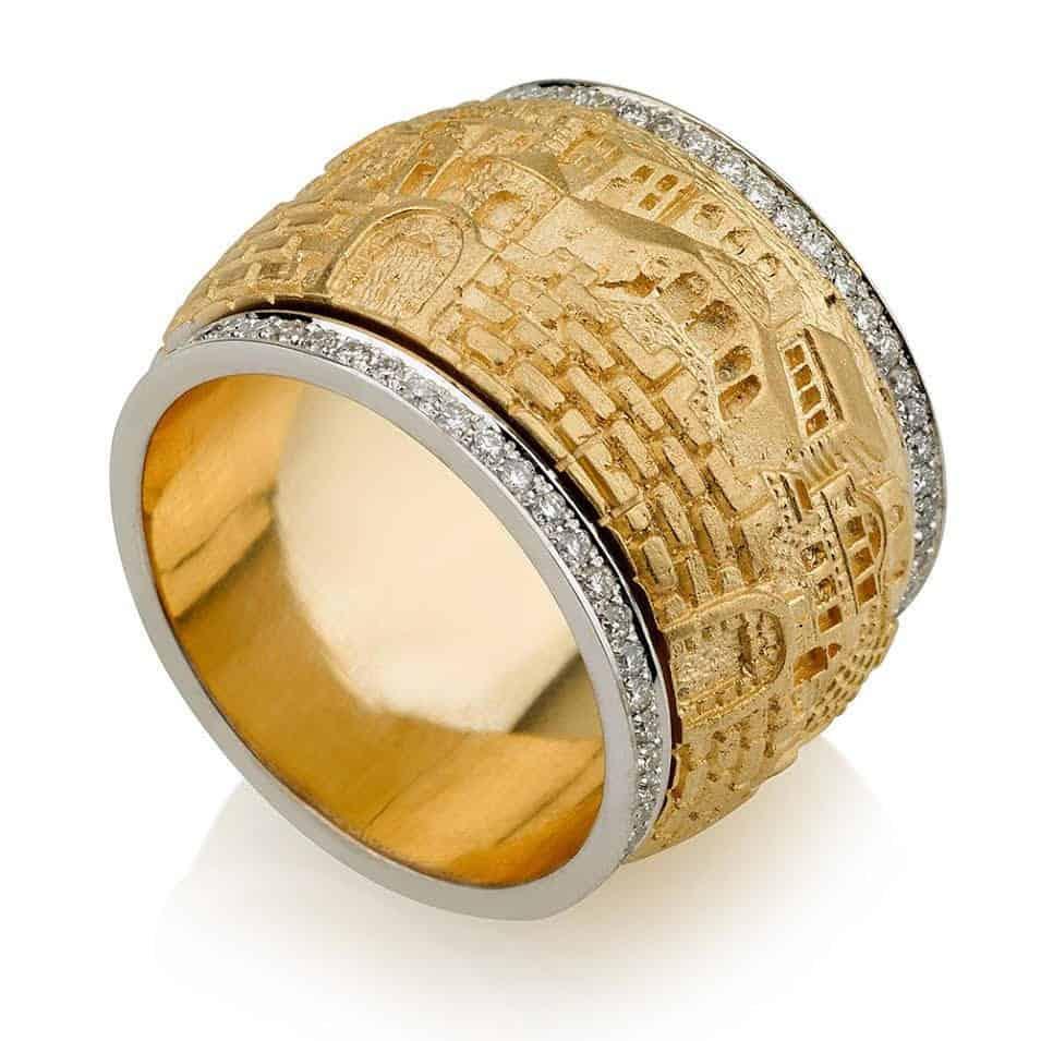 Anillo de Jerusalém de Oro de 18 Quilates con Diamante
