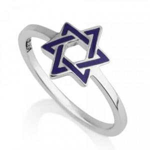 925 Sterling Silver Blue Star of David Ring