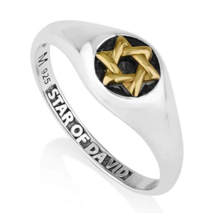 Anillo de Plata Esterlina en Negro y Dorado con Estrella de David