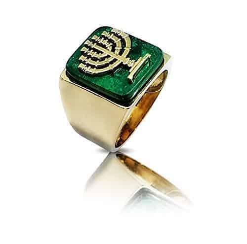 Anillo de Piedra de Eilat Judío Menorha de Oro de 14 k para Hombres y Mujeres