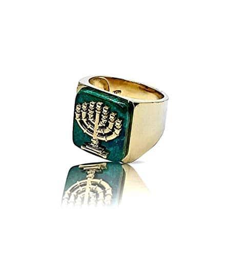 Men Women 14k Gold Menorha Jewish Eilat Stone Ring
