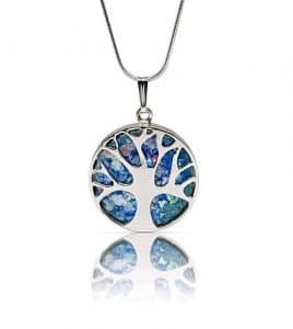 Hand Made 925 Silver Tree of Life Roman Glass Pendant Necklace, Silver Tree of Life necklace