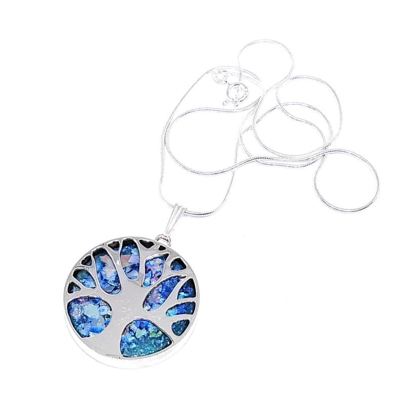 925 Silver Tree of Life with Roman Glass Necklace