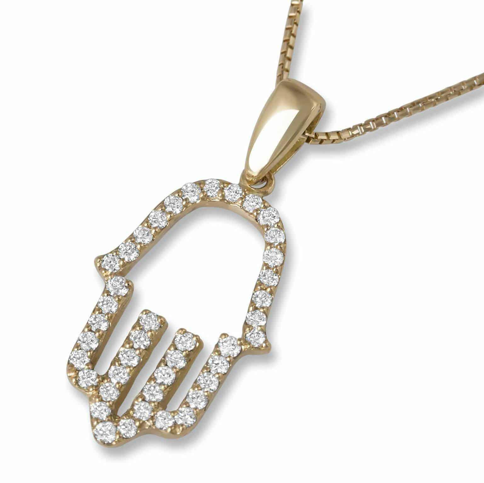 Colgante Hamsa de Oro Amarillo de 18 Quilates con Diamantes Brillantes
