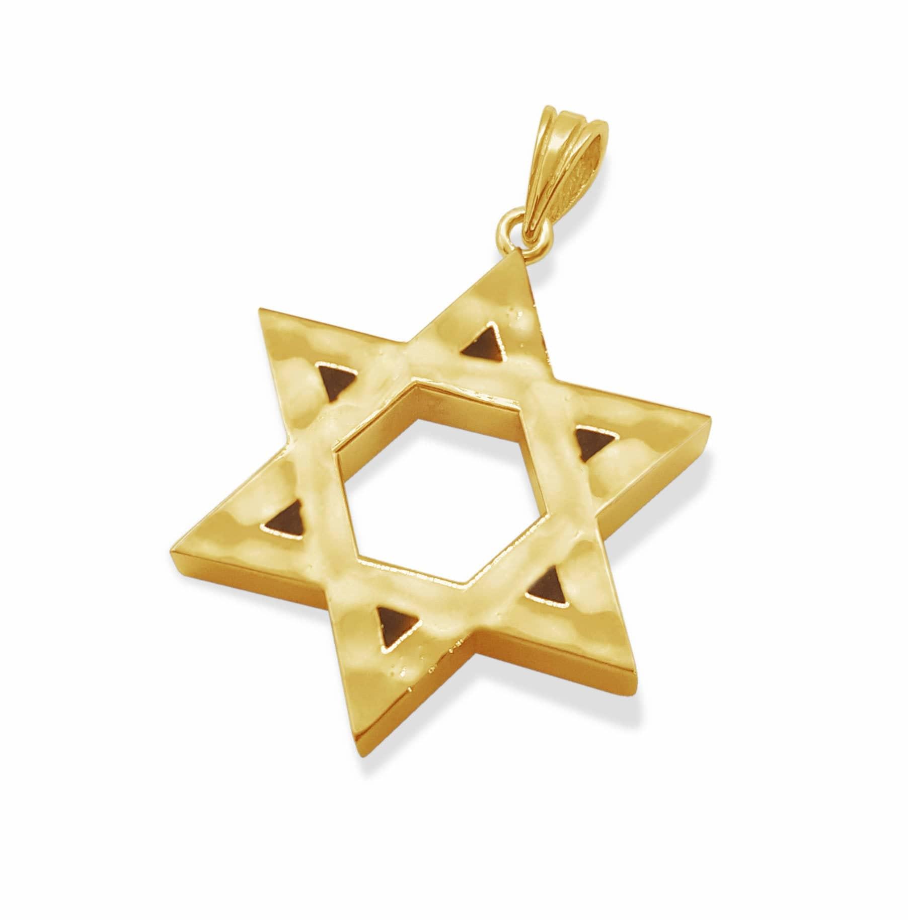 3D Hammered 14k White Gold Bold Star of David Pendant Necklace ,Gold Magen David Pendant Necklace