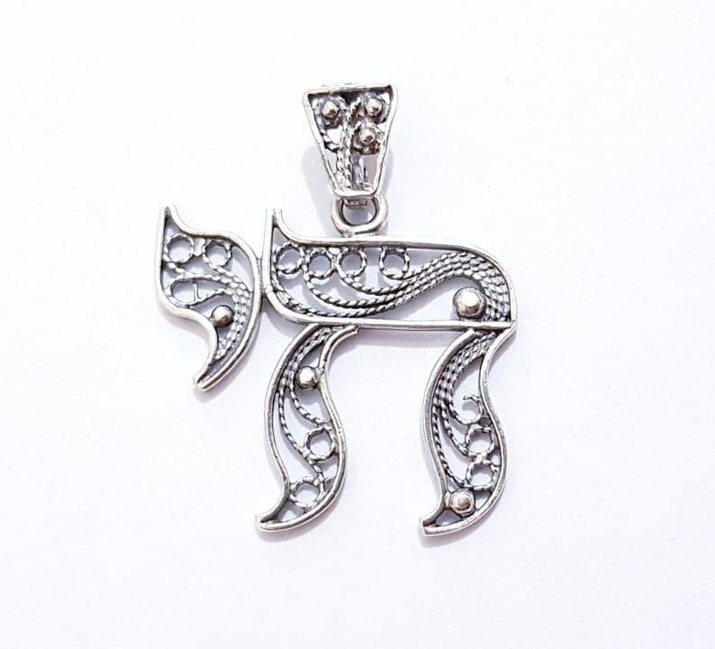 925 Silver Filigree Chai Pendant