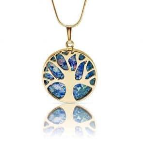Collar con Colgante de Cristal Romano del Árbol de La Vida en Oro de 14K, Collar del Árbol de La Vida en Oro