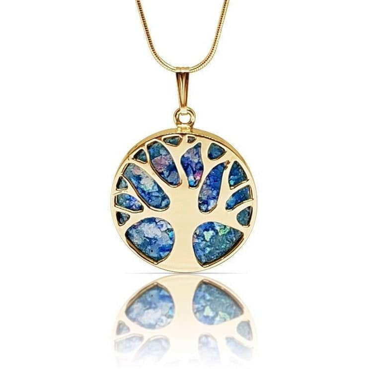 14K gold Tree of Life Roman Glass Pendant Necklace, Gold Tree of Life necklace