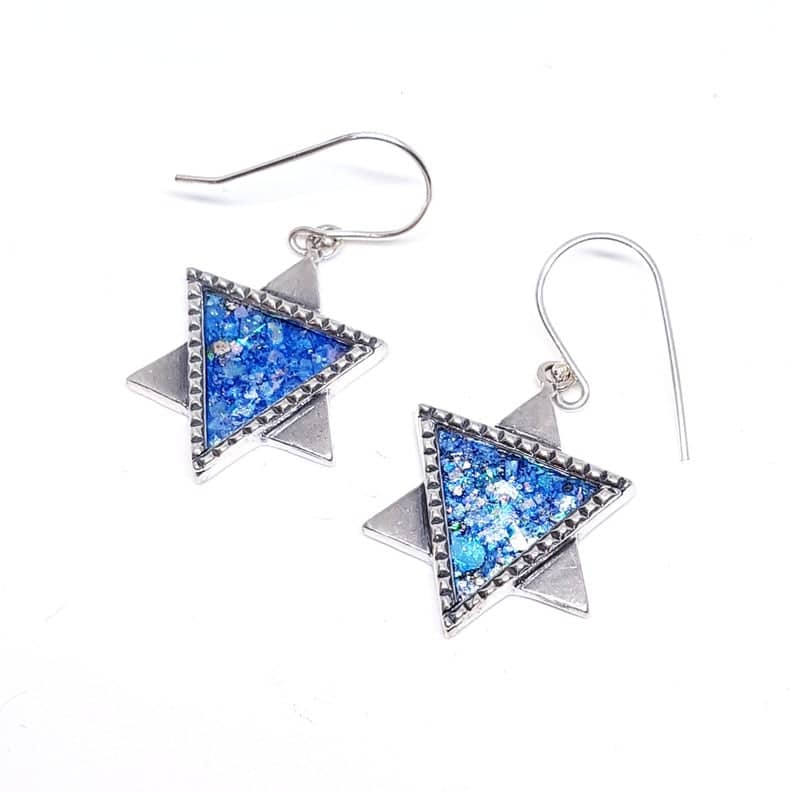 925 Sterling Silver Star of David Roman Glass Earring