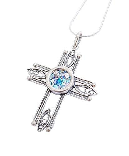 Filigree 925 Silver Roman Glass Cross Pendant Necklace ,925 Silver Cross ,Filigree Cross