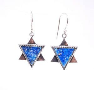 925 Sterling Silver Star of David Roman Glass Earring