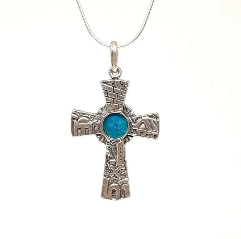 Colgante Cruz Jerusalén 3D de Piedra de Eilat de Plata 925, Cruz Jerusalén, Cruz de Piedra Eilat, Colgante de Cruz Cristiana