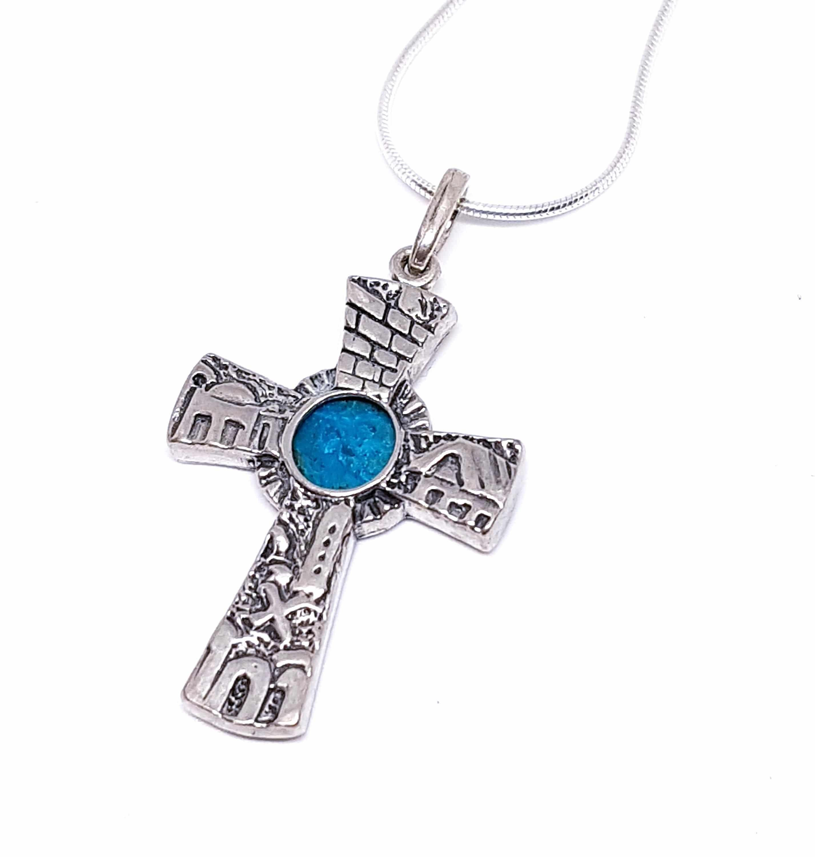3D Jerusalem Eilat stone 925 Silver Cross Pendant, Jerusalem Cross, Eilat stone Cross, Christian Cross Pendant