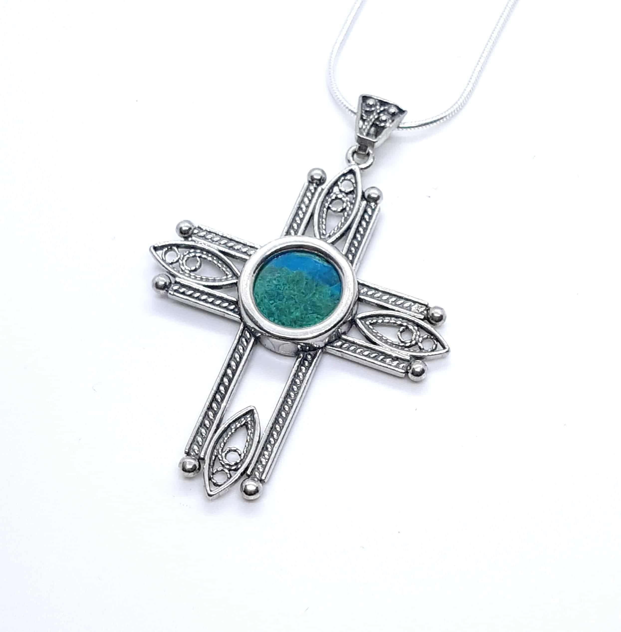 Filigree 925 Silver Eilat Stone Cross Pendant Necklace ,925 Silver Cross ,Filgree Cross King solomon stone