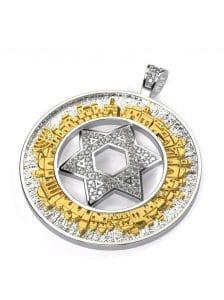 Colgante de Oro 14k de Jerusalén en 3D Estrella de david Colgante con Diamantes