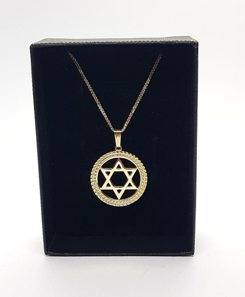 14k Circle Gold Star of David Jewish Necklace