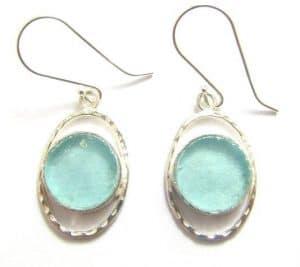 Ancient Roman Glass 925 Sterling Silver Earrings