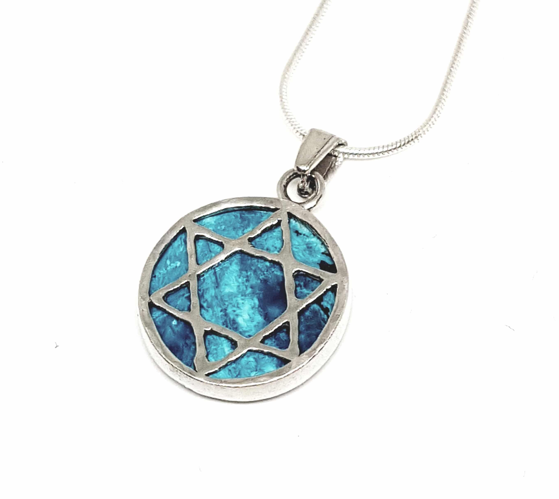 Colgante de La Estrella de David de Filigrana de Plata 925 Piedra de Eilat