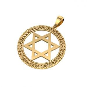 14k Circle Gold Star of David Jewish Necklace