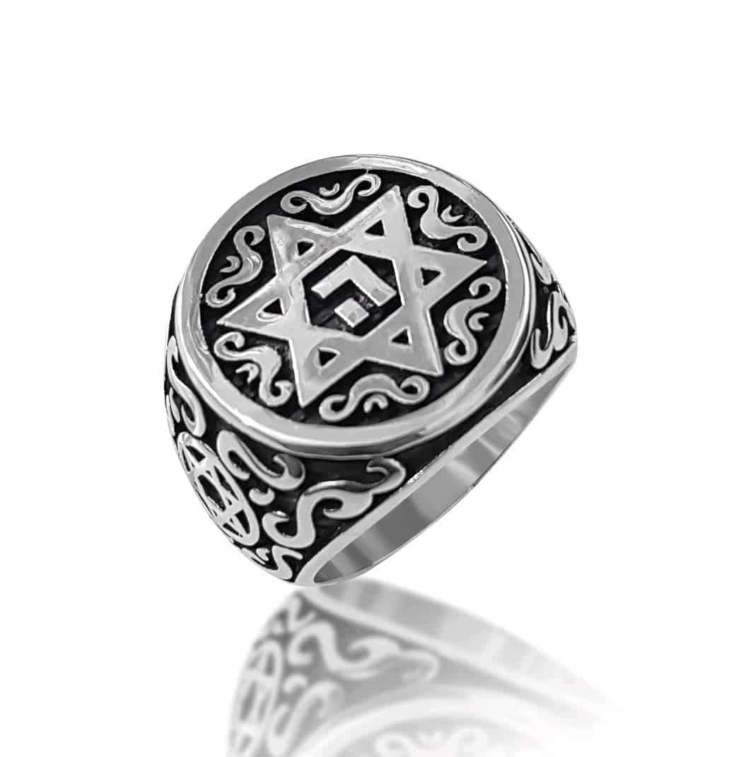 Sterling Silver Ornamented Star of David Ring