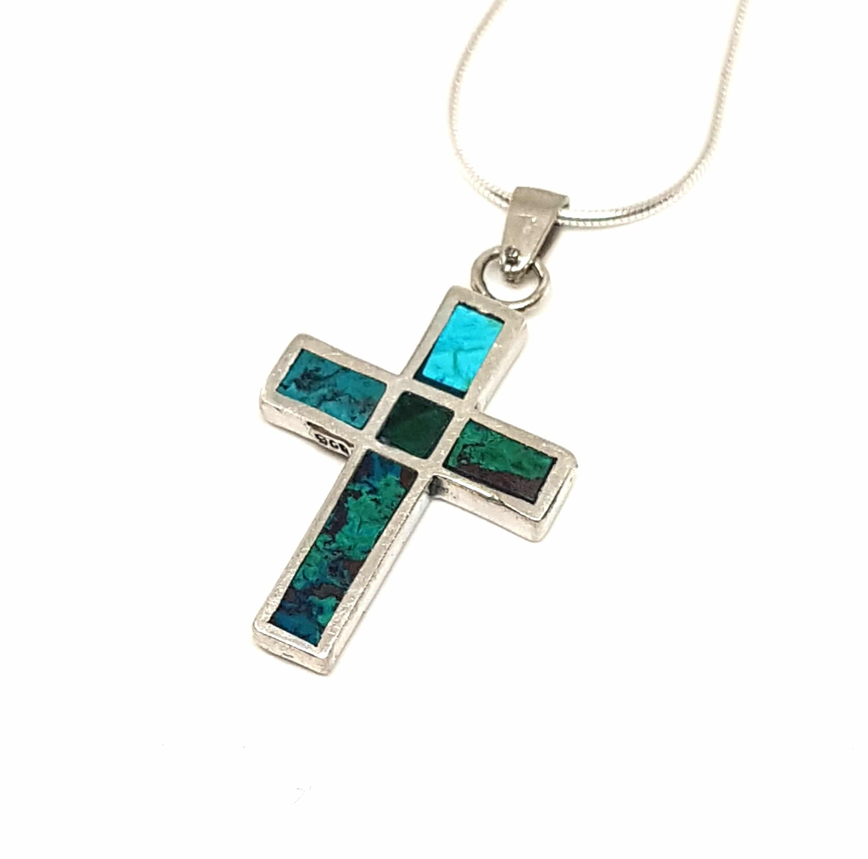 2 Sides 925 Silver Eilat Stone Cross Pendant Necklace ,Roman glass Cross Pendant