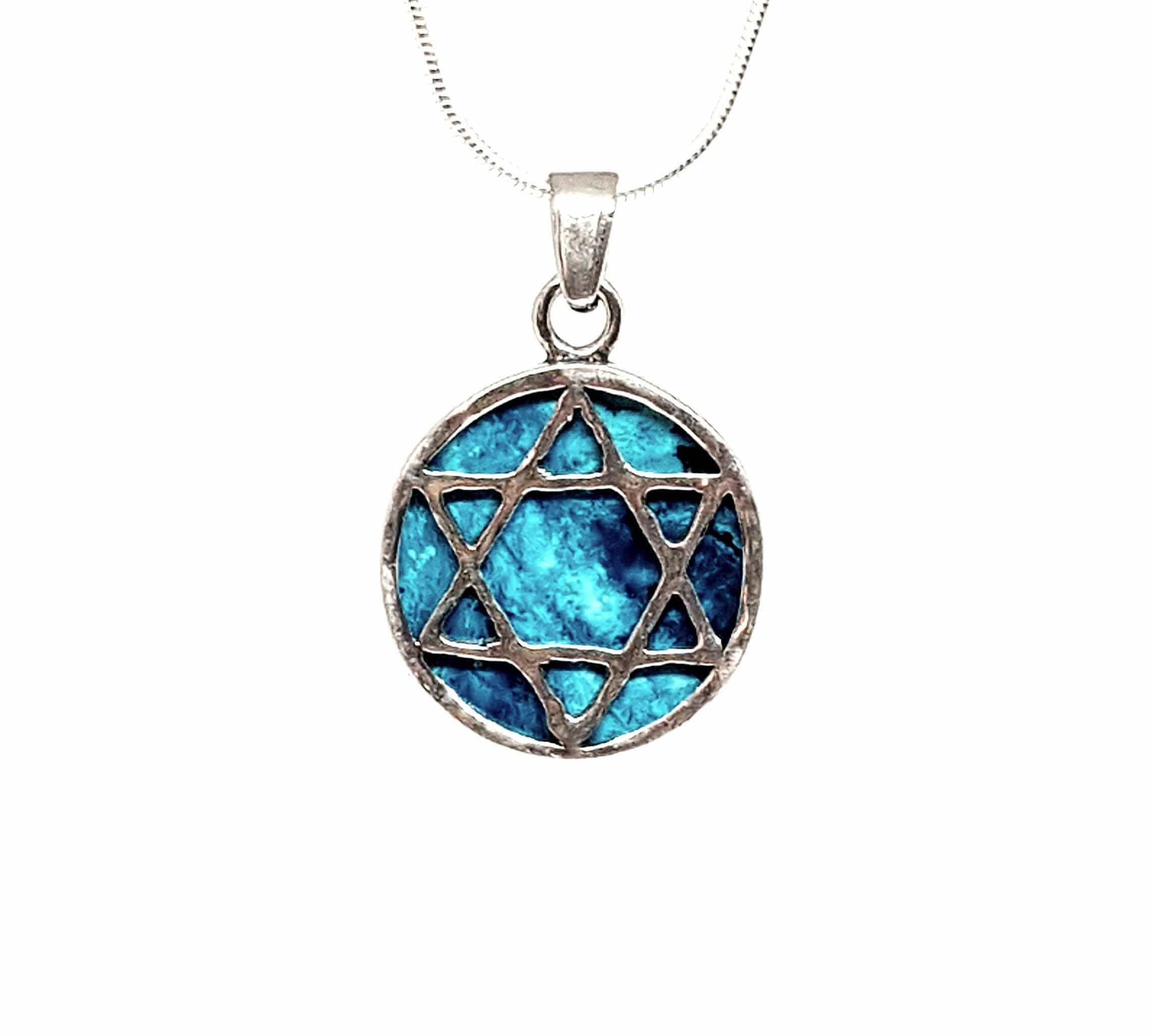 Eilat stone 925 Silver Filigree Star of david Pendant ,Jerusalem star of david ,Eilat stone Star of David Pendant