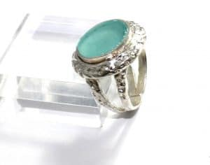 925 Sterling Silver Ancient Roman Glass Ring