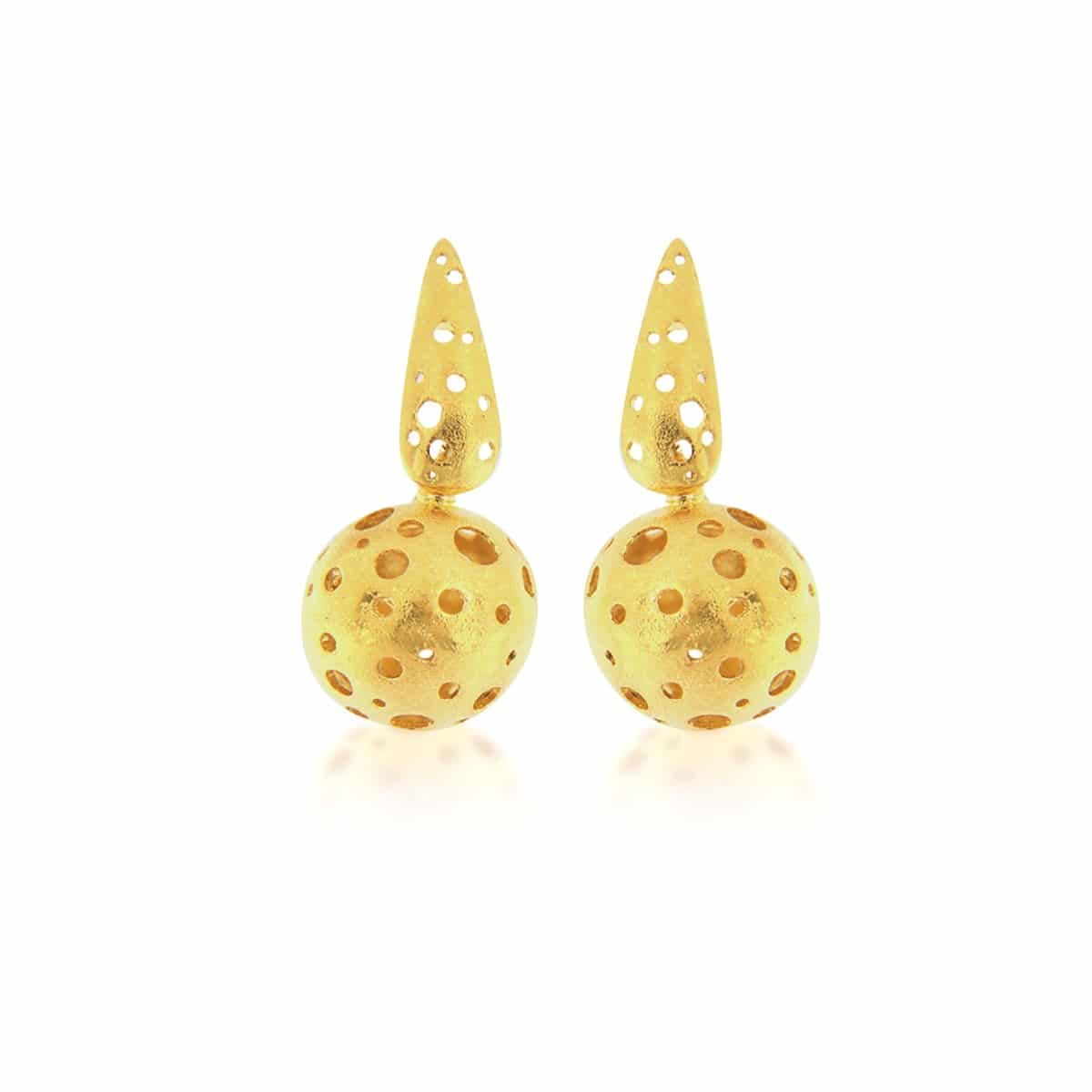 Gold plated ball silver Earrings