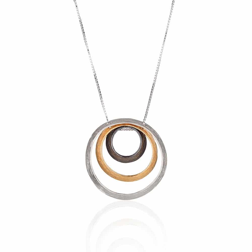 Tri-Color Hoop Pendant Necklace