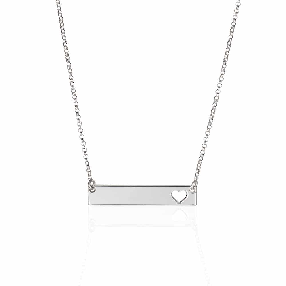 Heart Bar Sterling Silver Necklace