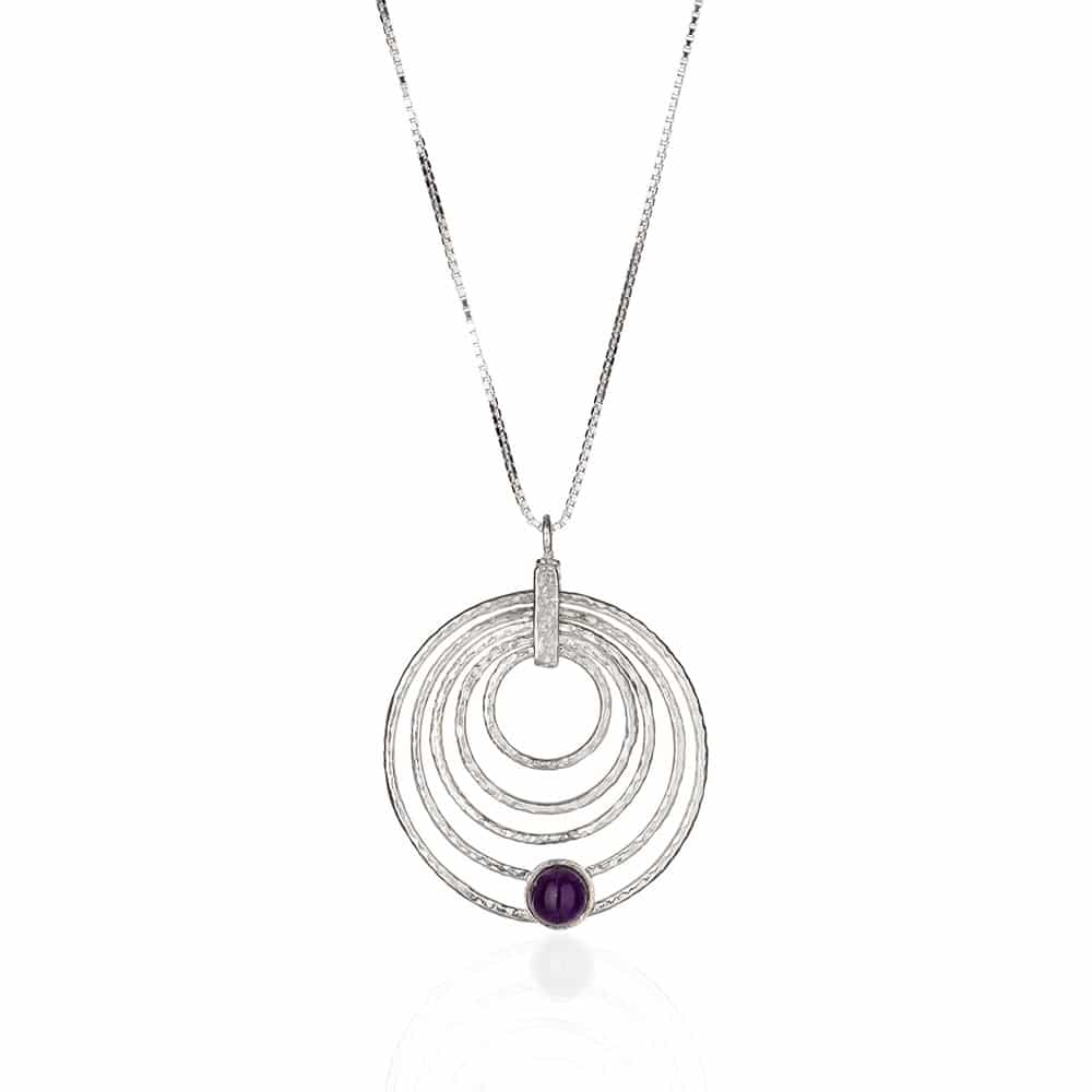 Hoop Sterling Silver Necklace combining a Tourmaline Stone