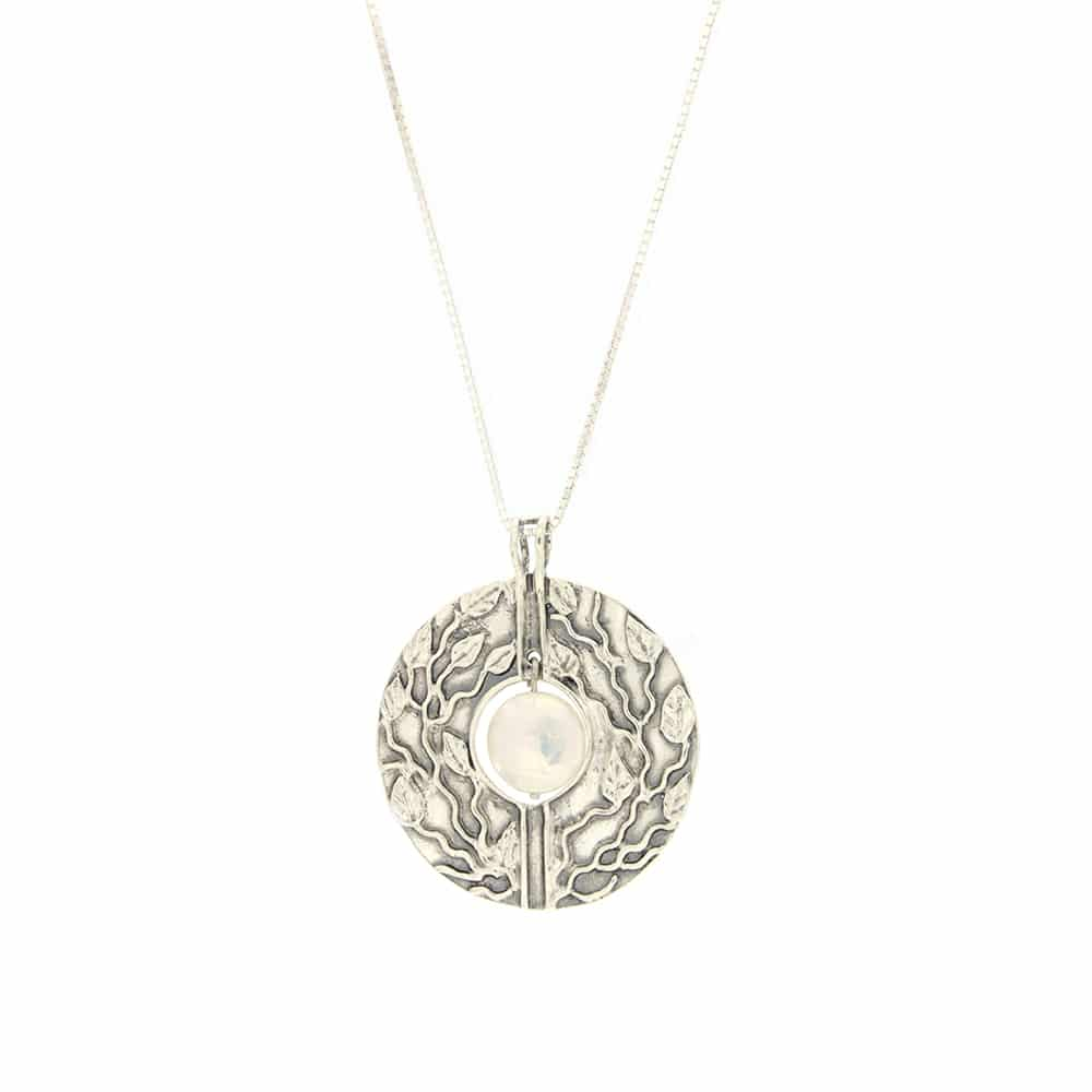 Sterling Silver Round Pendent with pearl