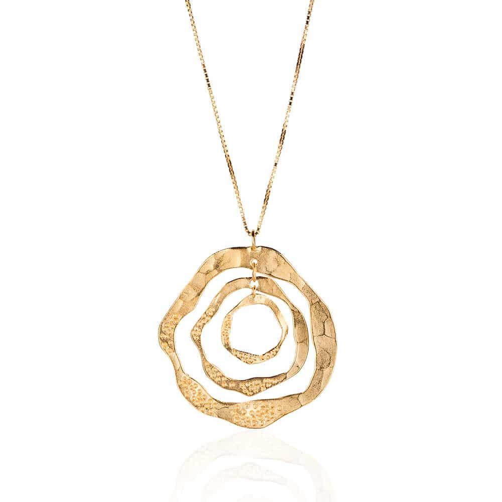 Collar de Plata Esterlina con Aro Chapado en Oro