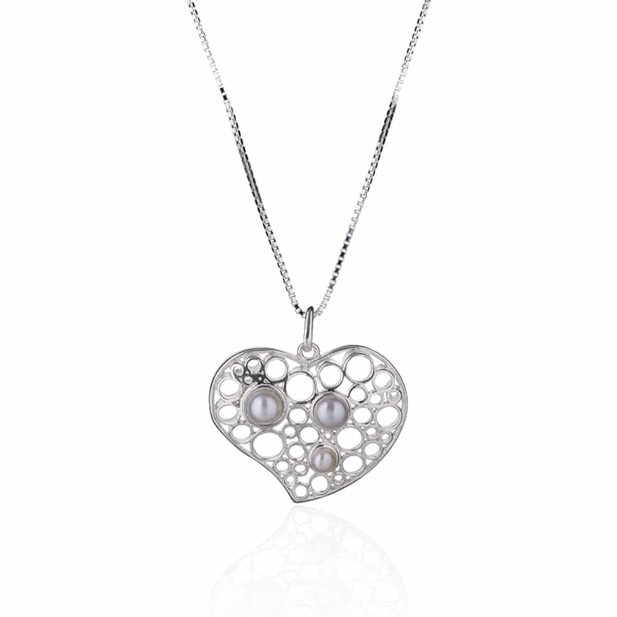 Heart shaped silver Necklace with natural white pearls