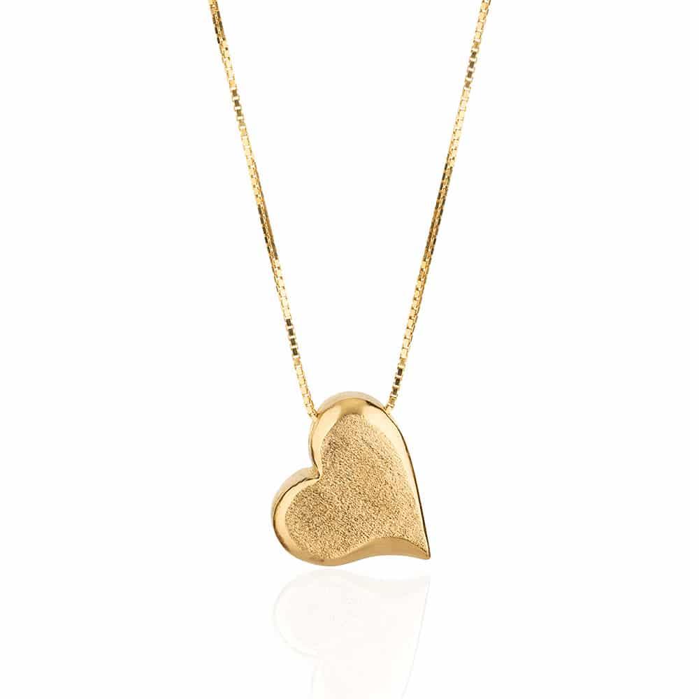 Collar de Plata Chapado en Oro en Forma de Corazón